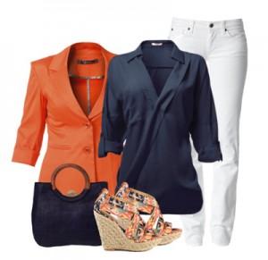 Темно-синий с оранжевым